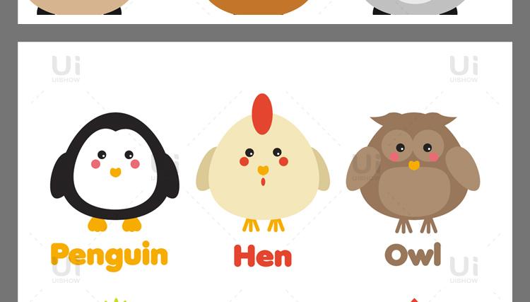 卡通可爱Q版企鹅狐狸老虎猪兔猫动物logo形象背景设计矢量图素材插图(4)