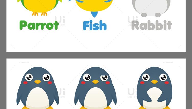 卡通可爱Q版企鹅狐狸老虎猪兔猫动物logo形象背景设计矢量图素材插图(7)