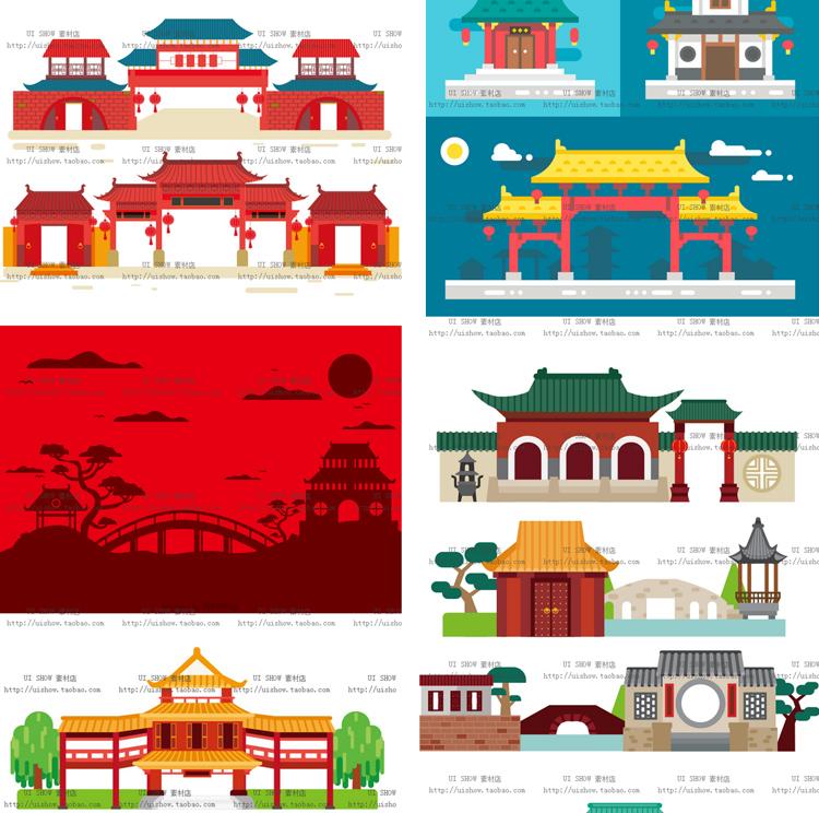 扁平化卡通中国风古代日本建筑矢量镇ui海报背景设计banner素材图插图(3)