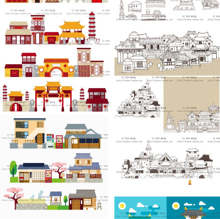 扁平化卡通中国风古代日本建筑矢量镇ui海报背景设计banner素材图插图(2)