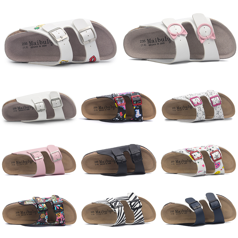 e2d826c7f843 Mai bu Lun flat cork slippers couple models beach shoes beach outdoor  increased college word buckle ulzzang