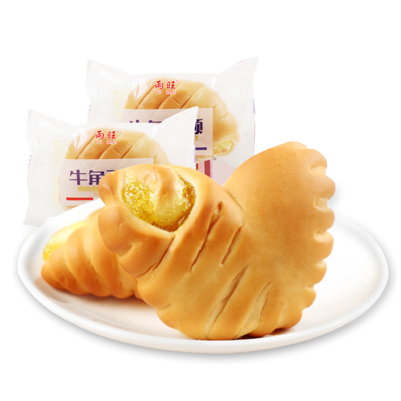 雨旺牛角夾心面包500g整箱 休閑食品早餐糕點小面包網紅零食小吃