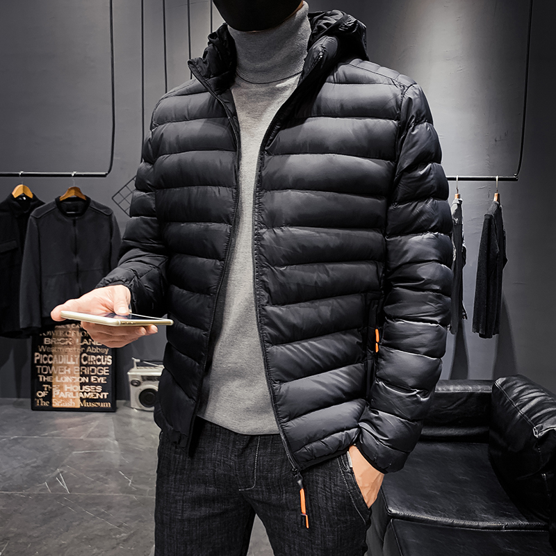 学生短款羽绒2020新款帅气棉袄外套修身轻薄潮牌棉衣男士连帽棉服