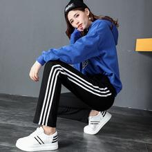 秋季韩版修身显瘦薄款三条杠运动裤女