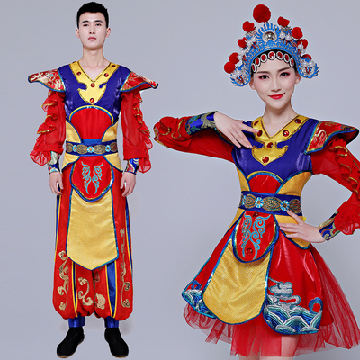 Chinese folk dance costumes team water waist drum dance costumes for women opening dance Beijing Opera pretty Huadan Dance Costume