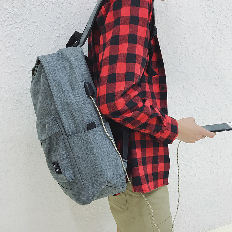 Korean simple mens backpack rechargeable USB youth schoolbag fashion trend Canvas Backpack