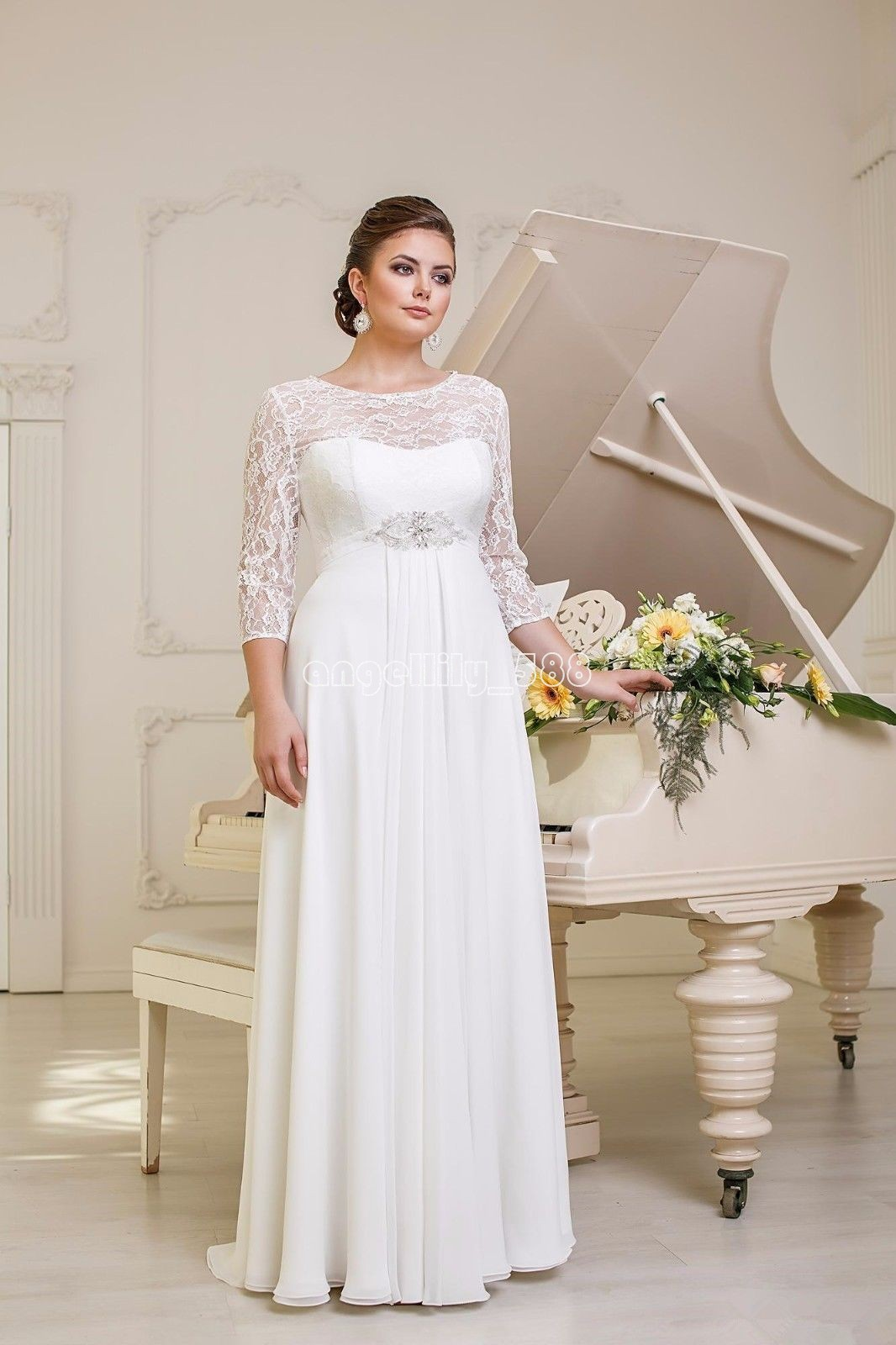 New lace chiffon wedding dresses bridal gown custom plus for Ebay wedding dresses size 18 uk