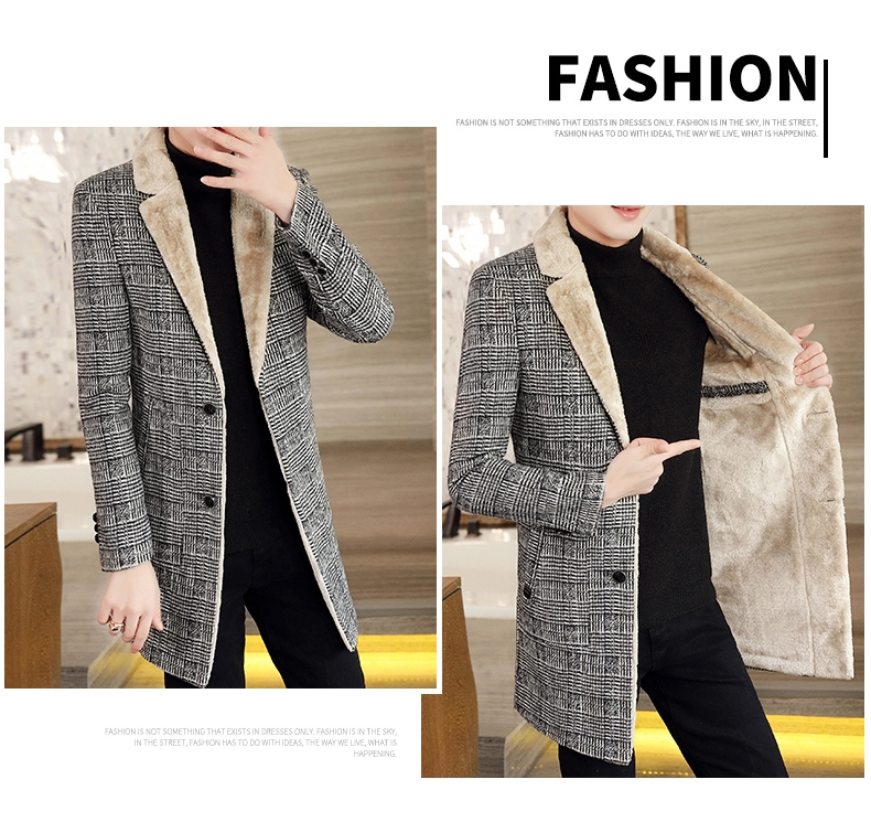 Autumn and winter hair coat men's long coat Korean version handsome men's fashion plus velvet thick windshield 57 Online shopping Bangladesh