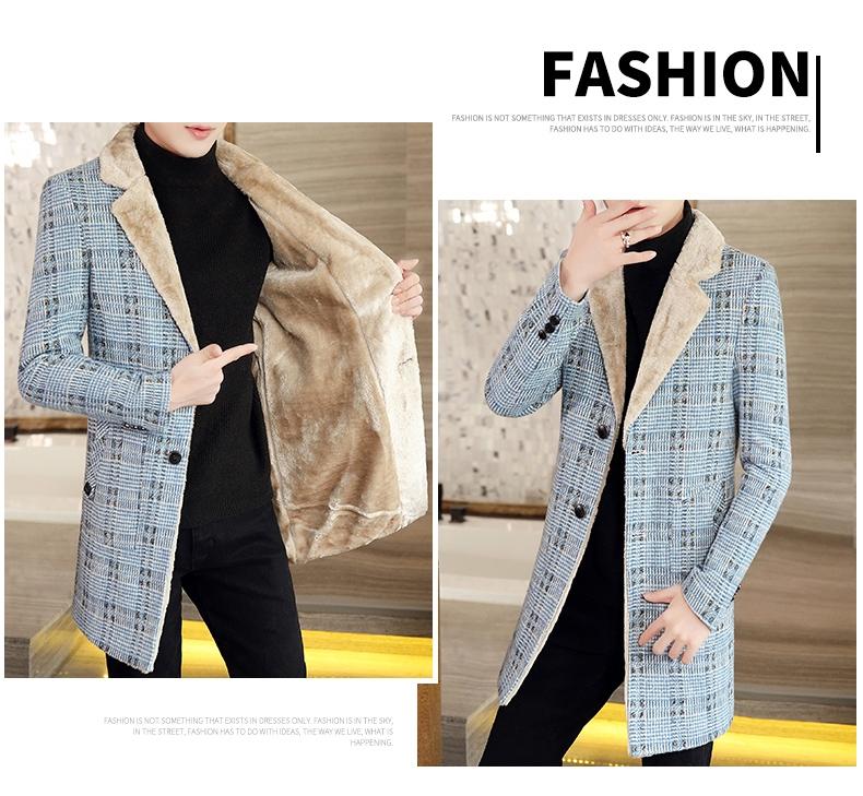 Autumn and winter hair coat men's long coat Korean version handsome men's fashion plus velvet thick windshield 61 Online shopping Bangladesh