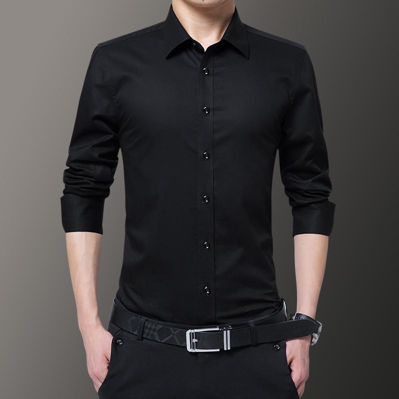 春季新款衬衫男商务休闲衬衣
