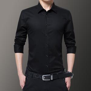 春秋季白衬衫男长袖商务休闲黑寸衫青年韩版修身潮流纯色衬衣男