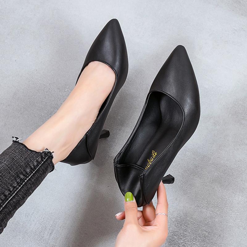 网红高跟鞋女不磨脚细跟单鞋鞋尖头工作鞋女黑色职业正装中跟皮鞋