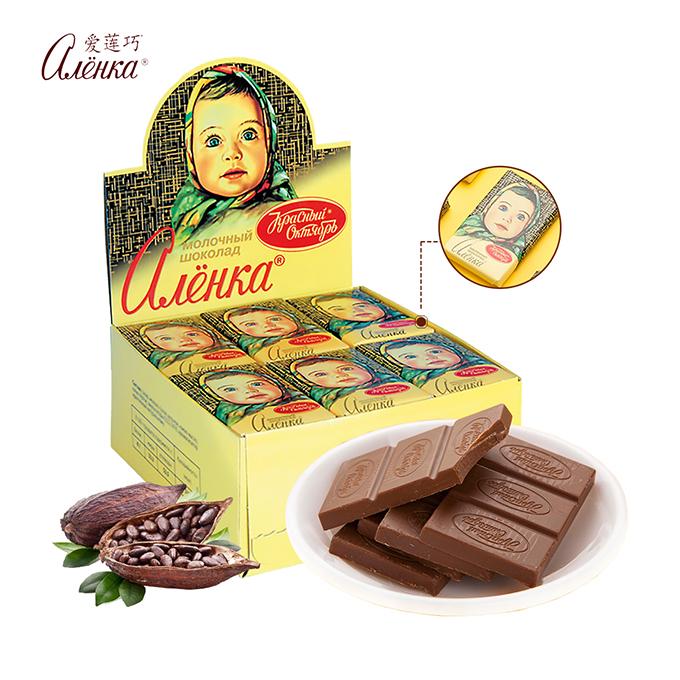 俄罗斯进口Alenka爱莲巧牛奶巧克力大头娃娃排块送女友礼盒装