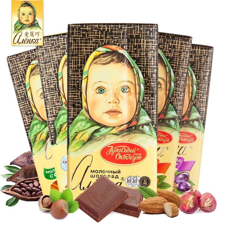 爱莲巧 俄罗斯大头娃巧克力100g*5块