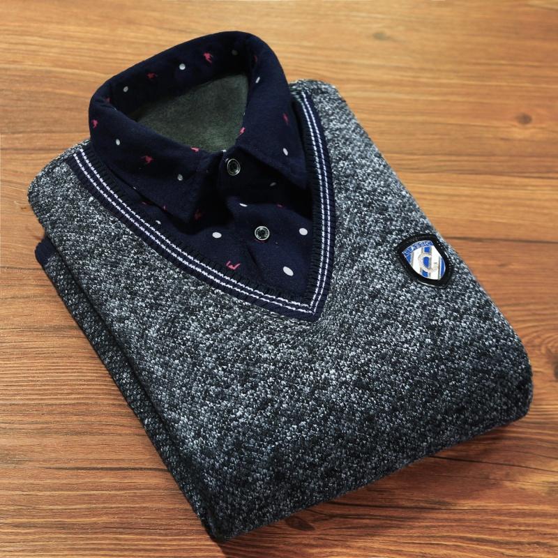 Cộng nhung dày] Jin Yang thuyền giả hai chiếc áo len nam chạm đáy áo sơ mi trẻ trung cổ áo sơ mi dài tay - Áo len thể thao / dòng may