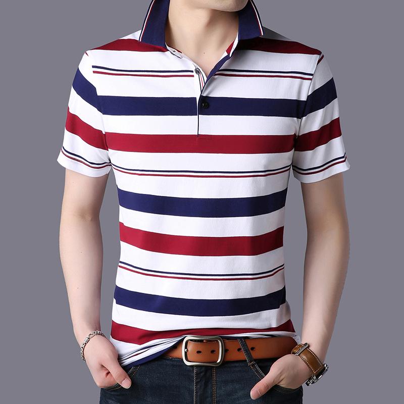 果佰短袖T恤男装2019新款韩版潮流中青年男士polo衫夏季条纹体恤