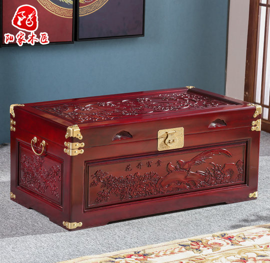New camphor wooden box wedding box suitcase full solid wood calligraphy and painting document storage box flat wedding box camphor wood box