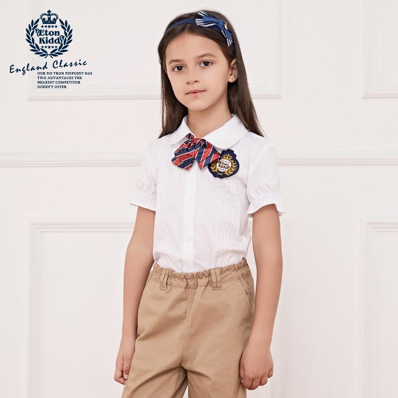 49eb4fecbdc Eaton Gide Школьная форма сорочка рубашка детское Летний колледж чистый  хлопок Сплошной цвет короткий рукав женщина