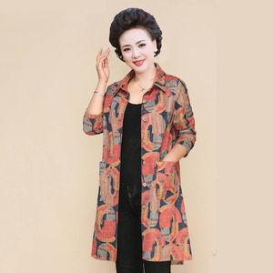 中老年秋装中长款中年40-50岁妈妈衬衣女长袖风衣宽松大码外套