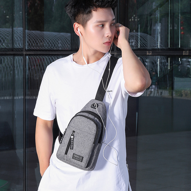 Men's chest bag casual Canvas Messenger Bag men's bag single shoulder bag small backpack men's small bag hanging bag diagonal shoulder bag trend brand