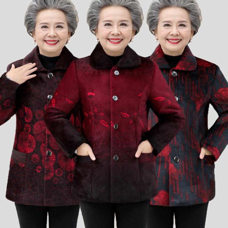 秋冬装中老年女装仿貂毛外套6070岁80奶奶装加绒加厚妈妈保暖外套