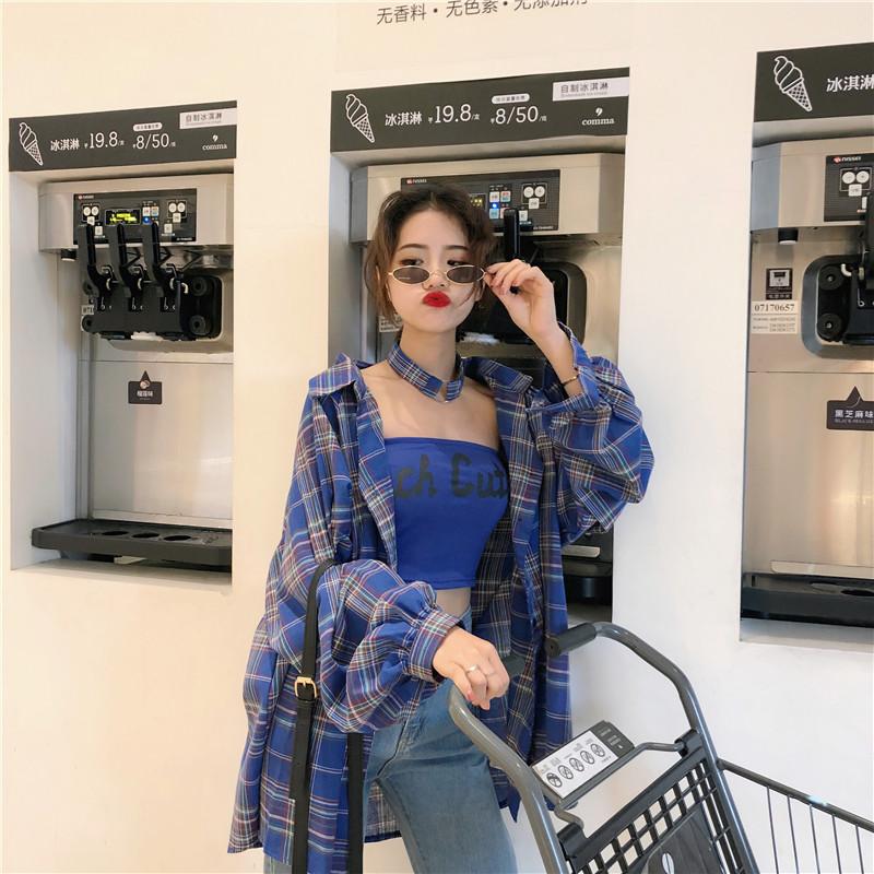 49春装韩版宽松撞色格子衬衫女设计感小众字母抹胸背心项圈三件套