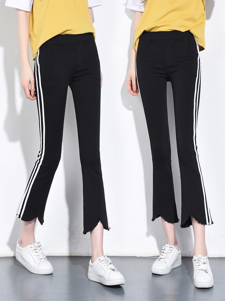 Striped 2019 New nine extra wear leggings female spring and Autumn high waist casual Bell pants stretch was thin Bell pants