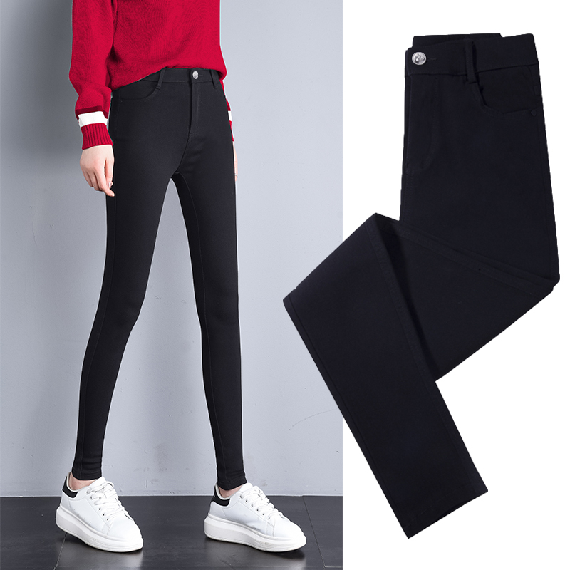 Leggings outside the female wear spring and autumn 2019 New Magic plus Velvet was thin wild little pencil black pants nine points