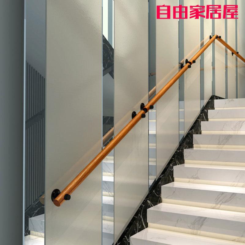 靠墙木楼梯扶手实木别墅阁楼室内老人防滑幼儿园简约通道走廊欧式