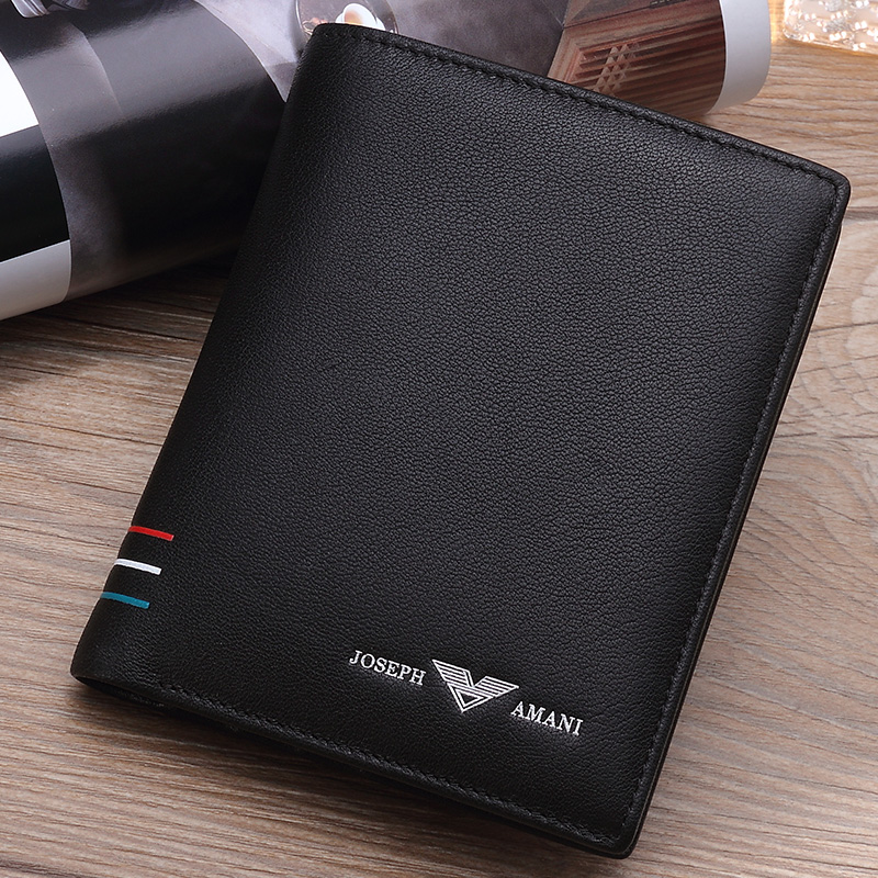 cda5ef522500 Genuine Zhuo fan Armani wallet men short paragraph leather vertical section  youth birthday gift men s leather wallet tide
