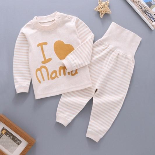 婴儿保暖高腰护肚套装儿童内衣0女宝宝彩棉秋装1纯棉2秋衣秋裤3岁