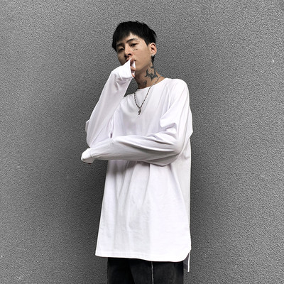 High street loose stack wear, long sleeved hem, white bottoming shirt, long-sleeved T-shirt, spring and autumn bottoming male trend