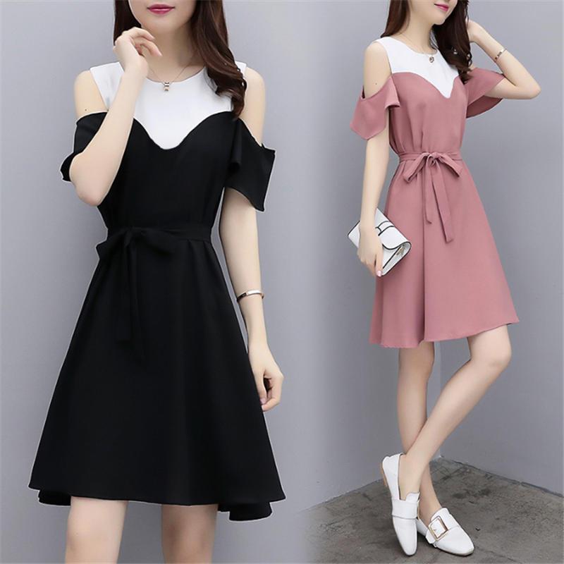 新款露肩女夏修身休闲显瘦气质连衣裙