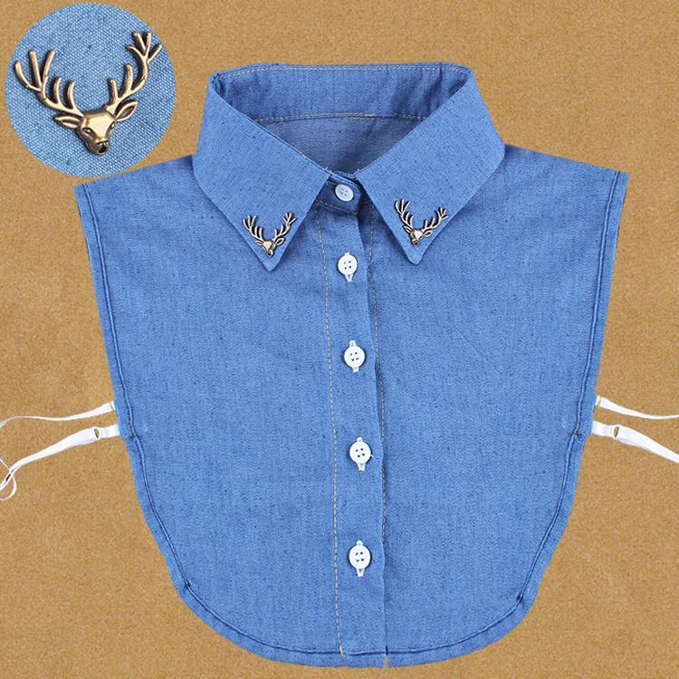 牛仔假领衬衫纯色装饰领假子女百搭子女假领小鹿假领衣领牛仔衬衫