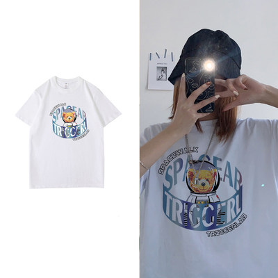 Pure cotton T-shirt women's short sleeve 2021 summer new wave Korean version of easing cotton T-shirt wild INS white top