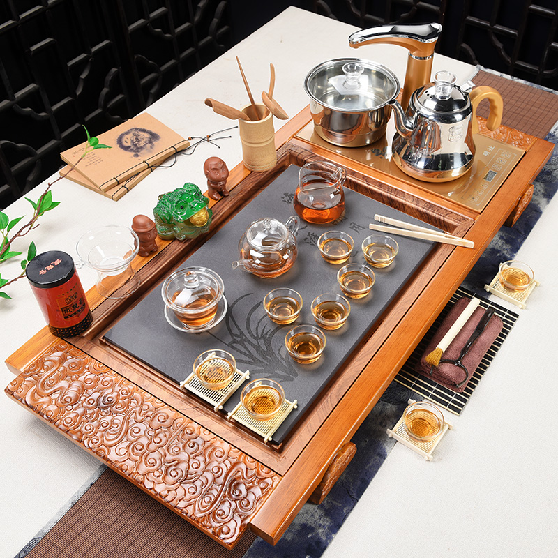 Xia Wei purple sand Kung Fu tea set Home automatic simple set of electric magnetic stove tea solid wood tea tray