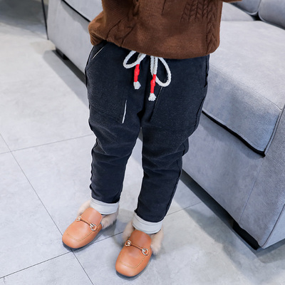 Girls leisure woolen pants 2017 winter children plus velvet thick harem pants little girl children wear pants long pants