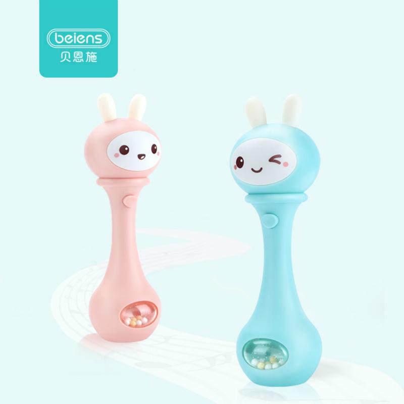 貝恩施搖鈴玩具0-1歲嬰兒寶寶手抓牙膠益智聲光節奏棒3-6-12個月