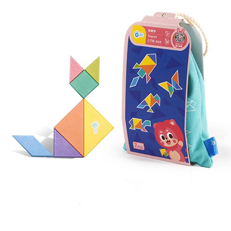 GWIZ儿童拼版积木创意七巧板智力拼图学前早教益智幼儿园教具
