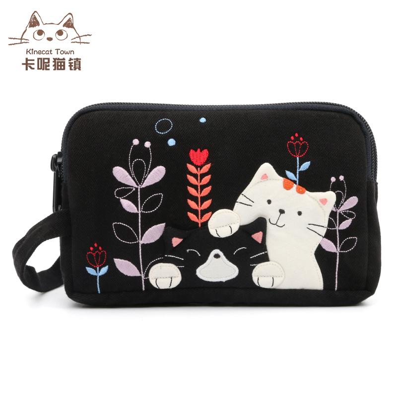 Nhật Bản minh họa mèo KINE dễ thương bông vải nghệ thuật điện thoại di động túi nữ nhỏ thay đổi túi hoang dã tay điện thoại di động túi - Túi điện thoại