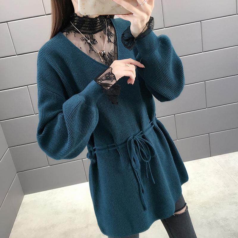 2019冬季蕾丝领女士洋气毛衣中长款修身针织打底衫假两件上衣爆款