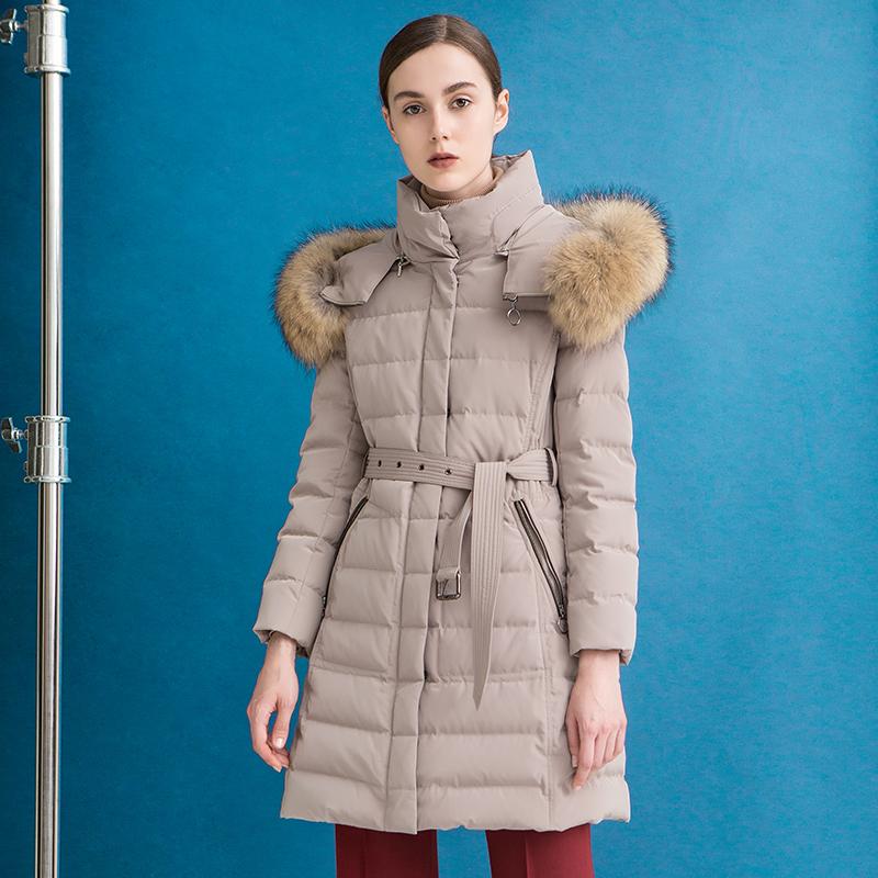 素型西纳维思时尚毛领收腰纯色中长款羽绒服S740028