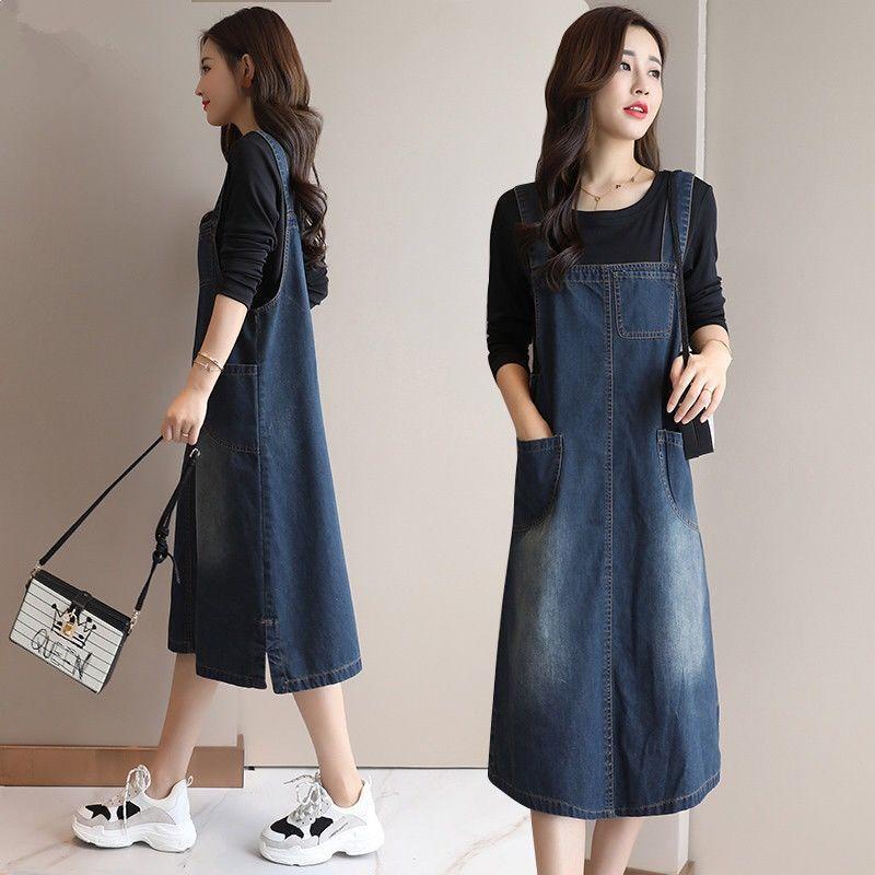 牛仔背带裙女夏季新款件套2019韩版宽松v牛仔中长款两女装连衣裙潮
