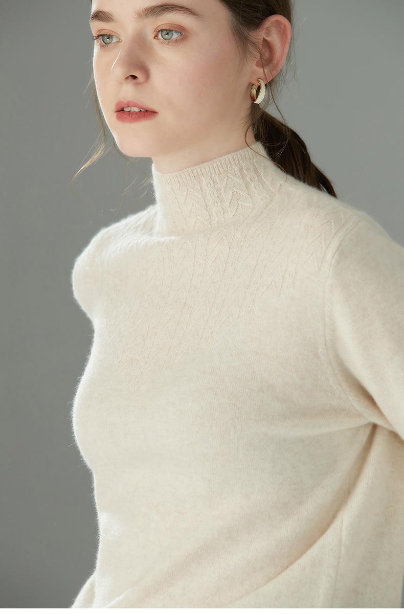 猫盾 女士半高领100%羊毛衫 图2