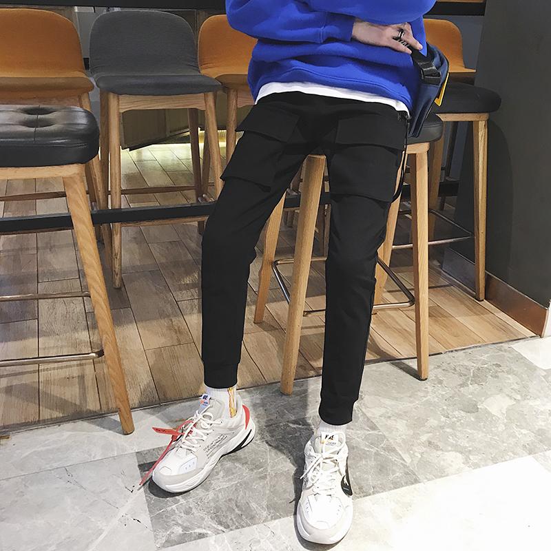 秋季小脚多袋工装裤宽松休闲裤青春口袋长裤中腰装饰纯色1811P65
