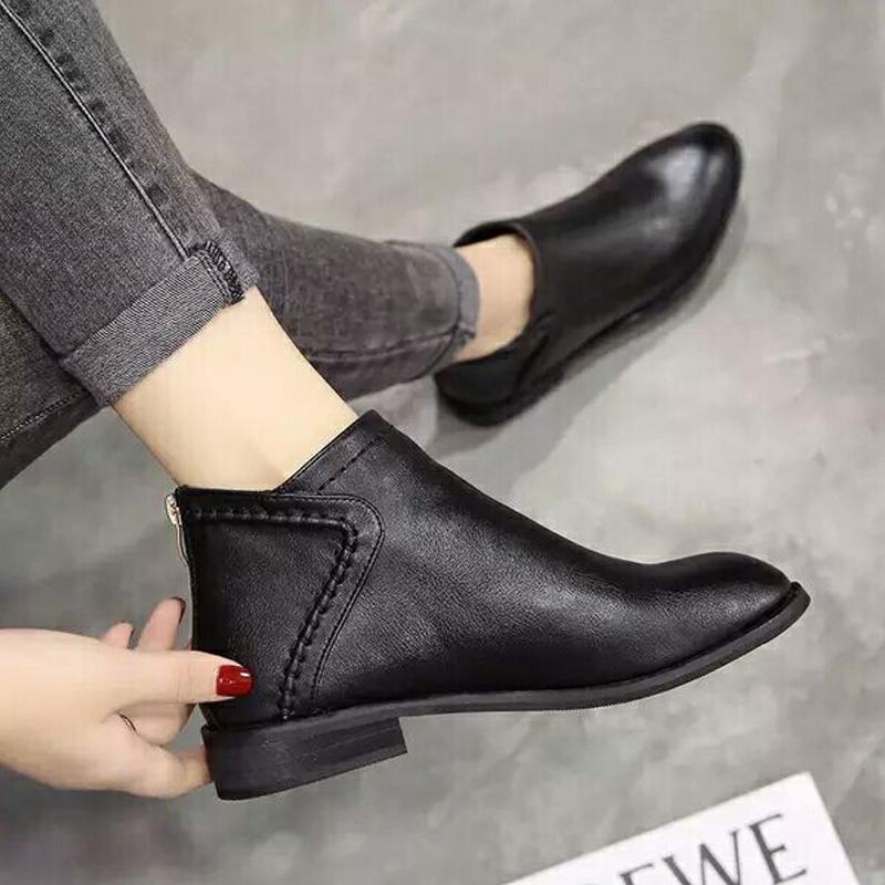 2020春秋短靴女时尚潮流英伦百搭裸靴韩版复古简约女靴单靴马丁靴
