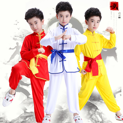 Children's martial arts costumes young people Tai Chi exercise clothes long sleeves primary and middle school students Chinese Kung Fu performance clothing