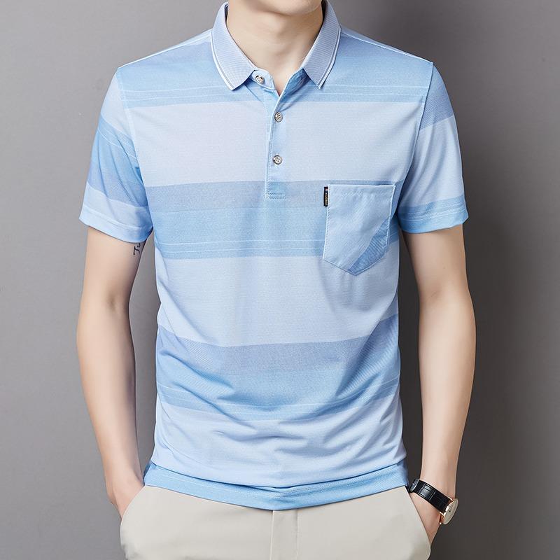 夏季男士冰丝短袖体恤韩版修身翻领POLO衫商务休闲时尚条纹T恤