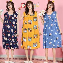 Summer Korean version of the large size cotton sleepers, ladies XL sleeveless skirts, artificial cotton thick, pregnant women, homes