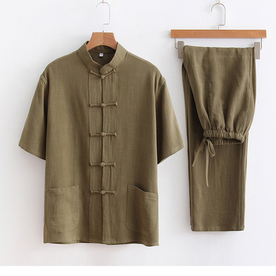 Short sleeve suit Chinese style Tang suit Men's Housewear Cotton and Ma nationality style Tang suit two sets